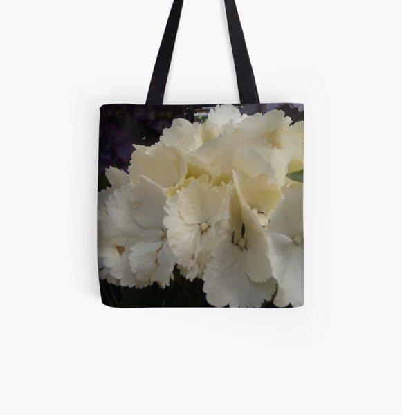 White Hydrangea All Over Print Tote Bag