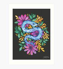 Snake on Black Art Print