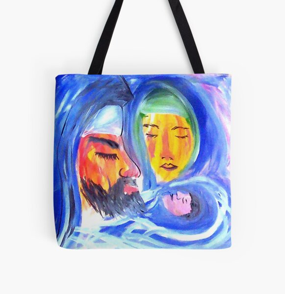 Joseph, Mary and Jesus All Over Print Tote Bag