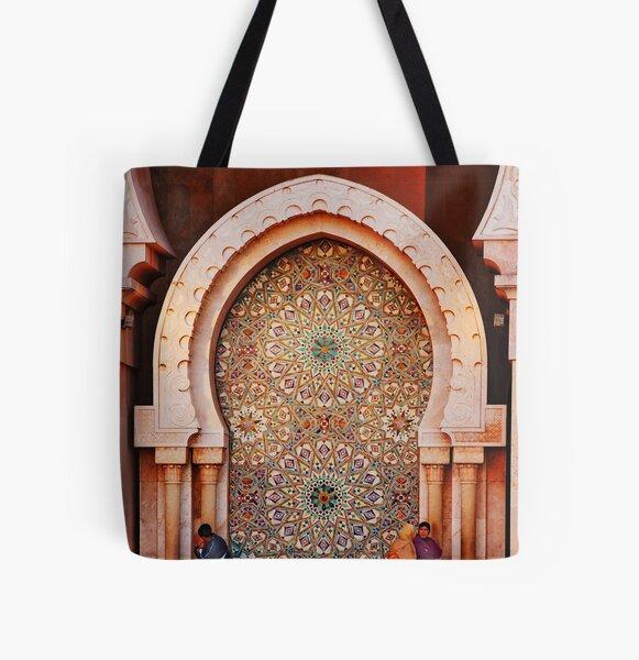 Fountain, Hassam II Mosque Casablanca All Over Print Tote Bag