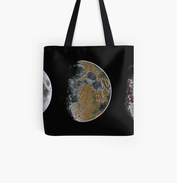 3 Phases of The Moon All Over Print Tote Bag