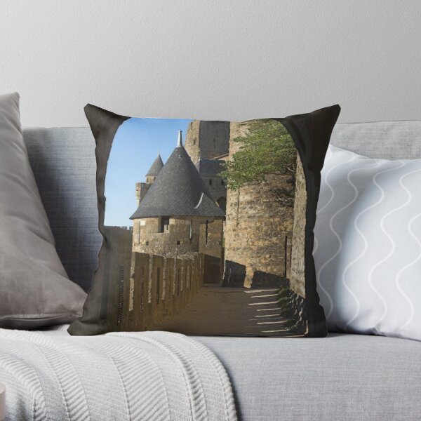 Carcassonne castle Throw Pillow