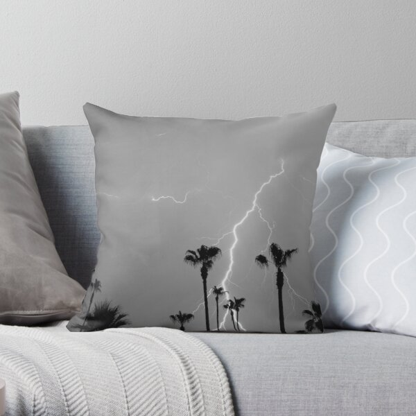 Black and white of a Lightning Storm and Tropical Palm Trees Throw Pillow