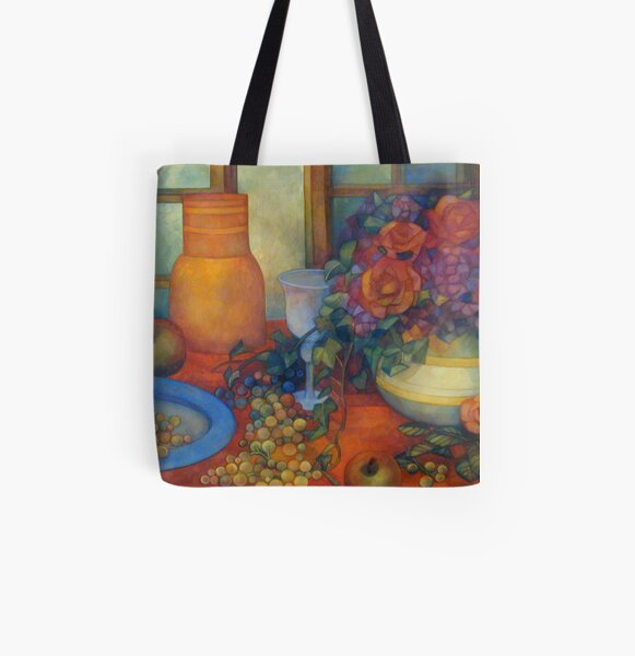 still life with roses All Over Print Tote Bag