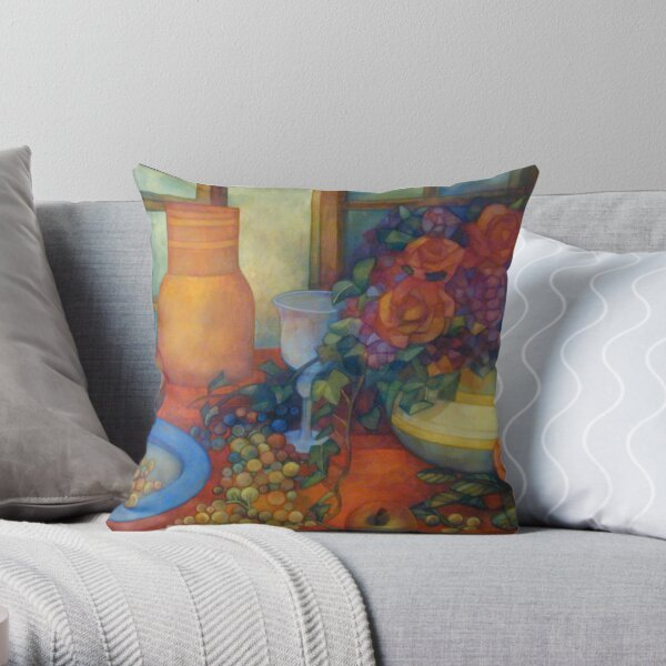 still life with roses Throw Pillow