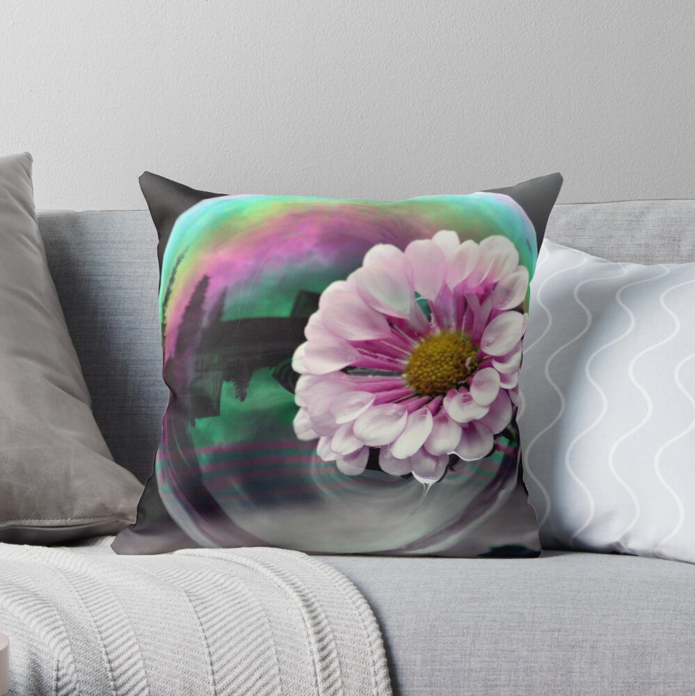 Color flower in a bubble Throw Pillow