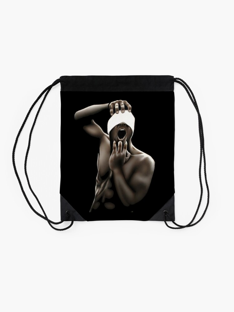 Alternate view of Descended (Color pencil drawing) Drawstring Bag