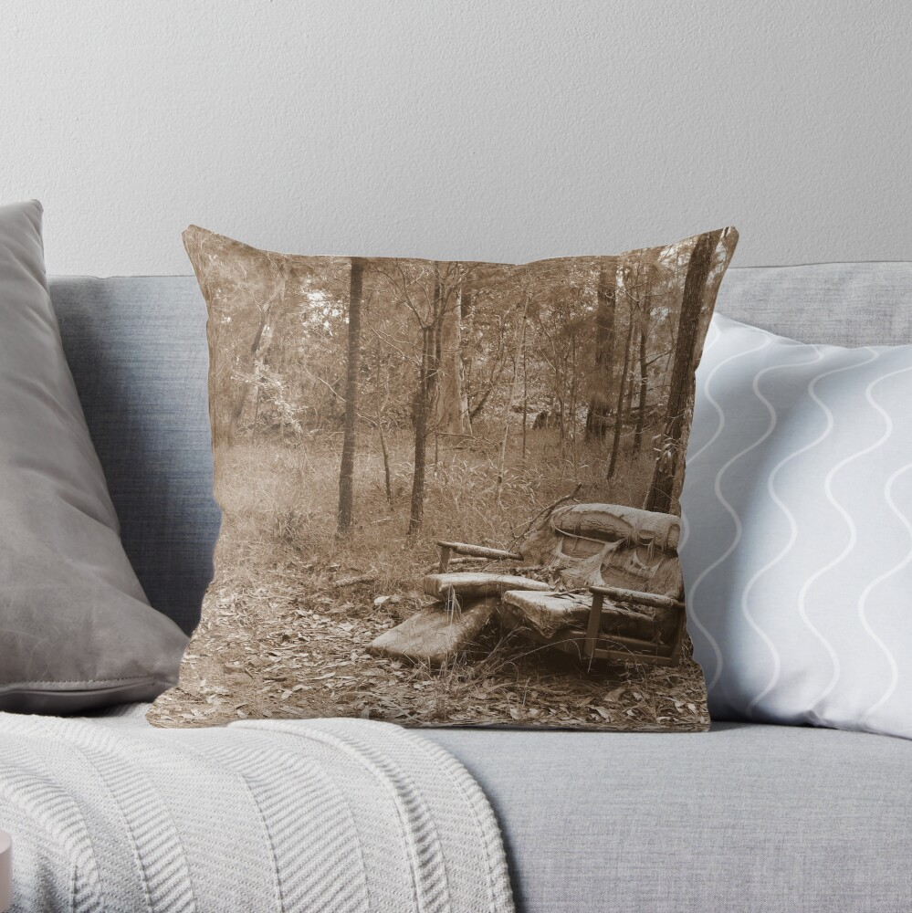 Waiting by the Track Throw Pillow