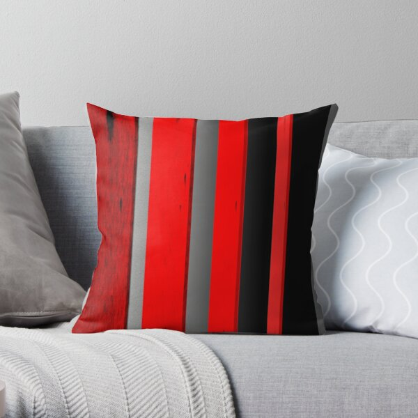 RED BLACK AND GRAY Throw Pillow