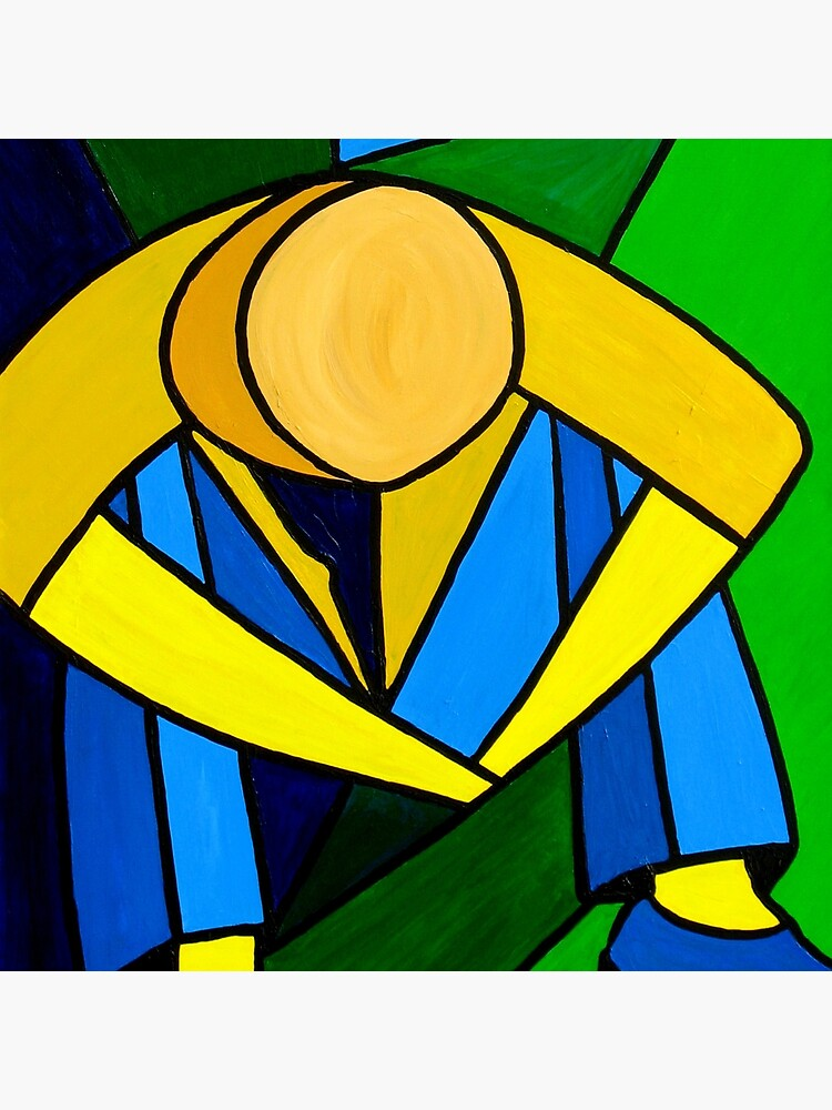 Man In Blue Green Yellow Original Abstract Acrylic Painting On Canvas Tote Bag