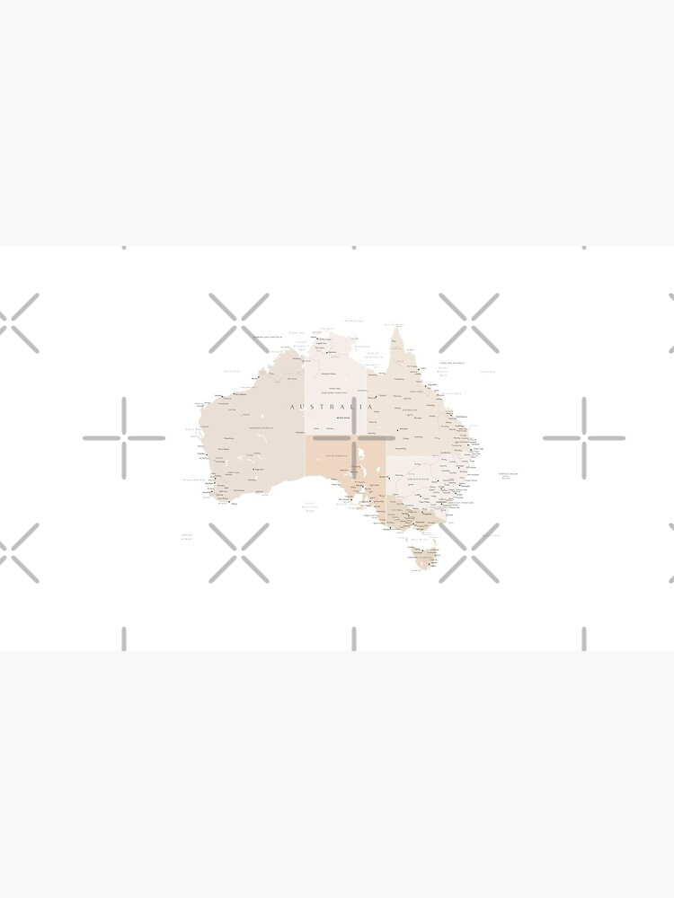 Map of Australia with cities in beige and light brown by blursbyai