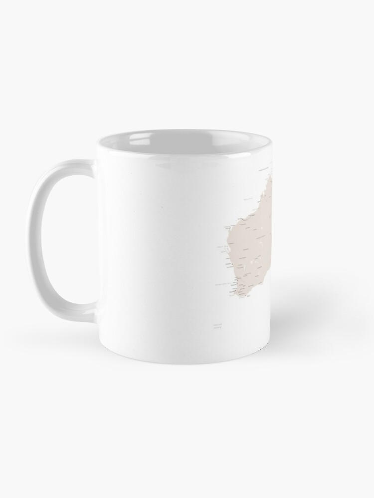 Alternate view of Map of Australia with cities in beige and light brown Mug