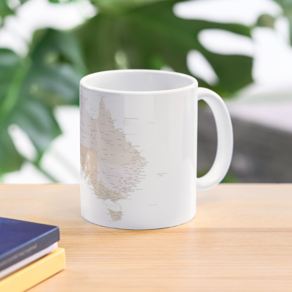 Map of Australia with cities in beige and light brown Mug