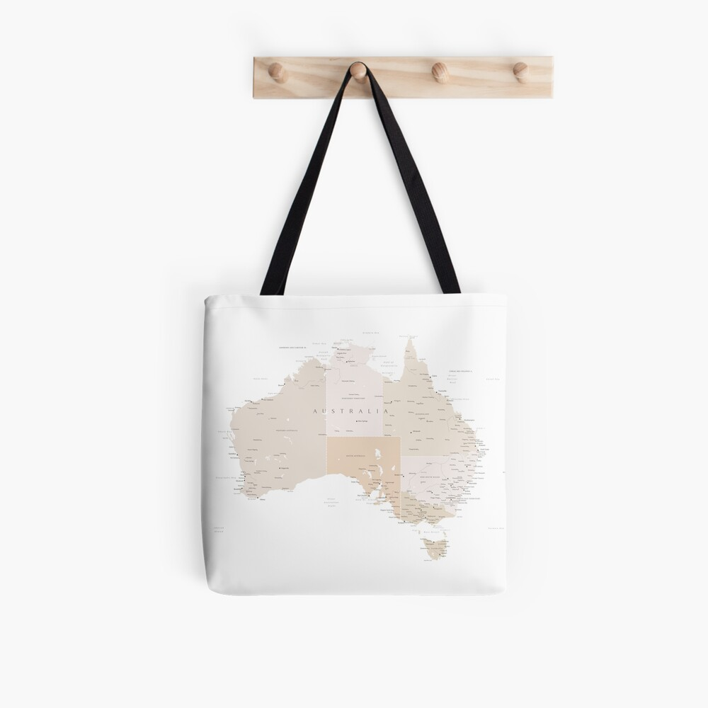 Map of Australia with cities in beige and light brown Tote Bag
