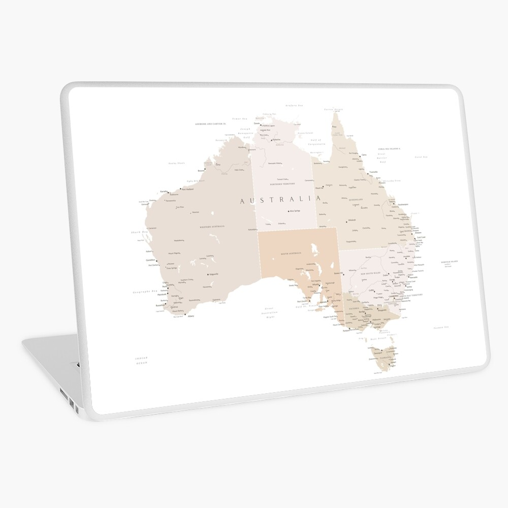 Map of Australia with cities in beige and light brown Laptop Skin
