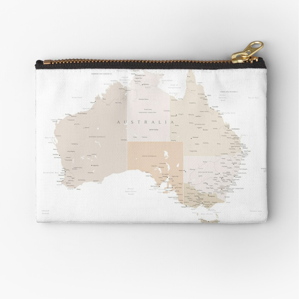 Map of Australia with cities in beige and light brown Zipper Pouch