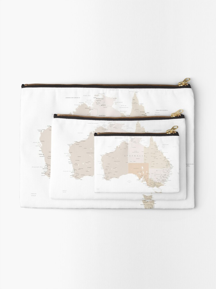 Alternate view of Map of Australia with cities in beige and light brown Zipper Pouch