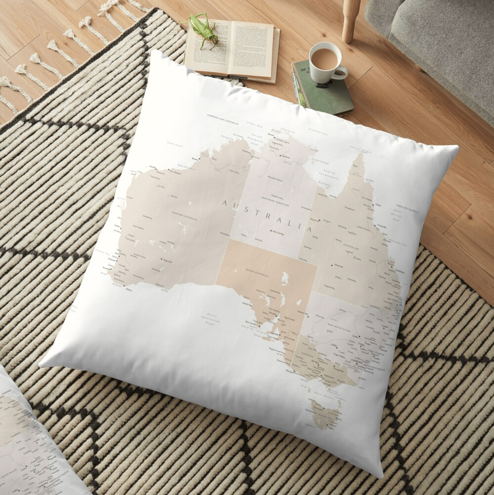 Map of Australia with cities in beige and light brown Floor Pillow