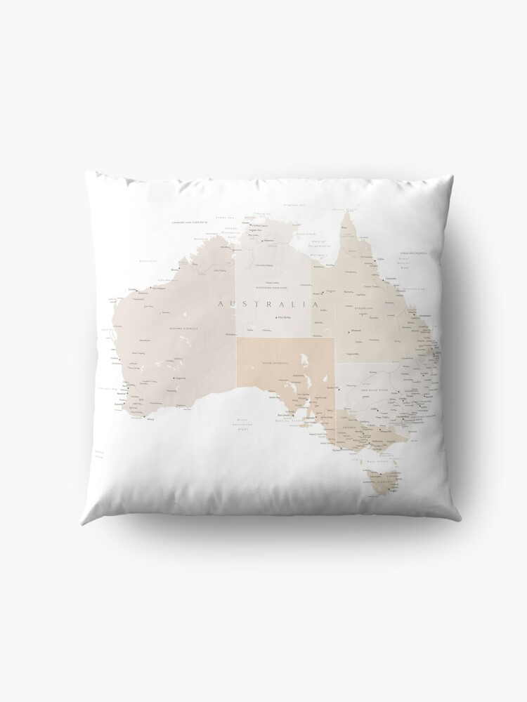 Alternate view of Map of Australia with cities in beige and light brown Floor Pillow