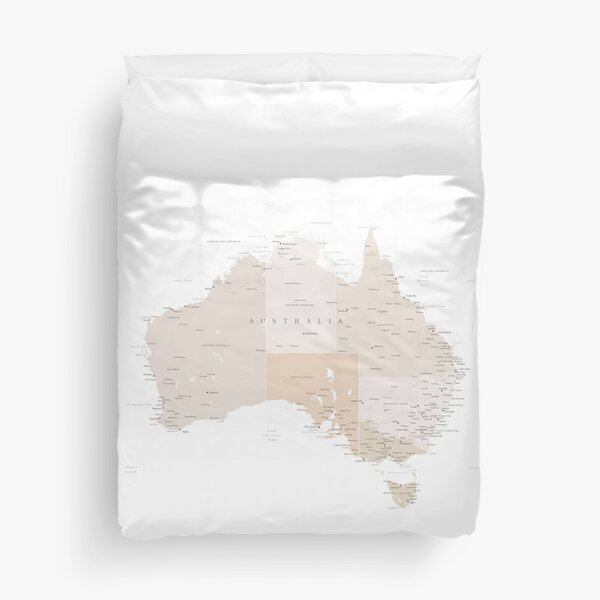 Map of Australia with cities in beige and light brown Duvet Cover