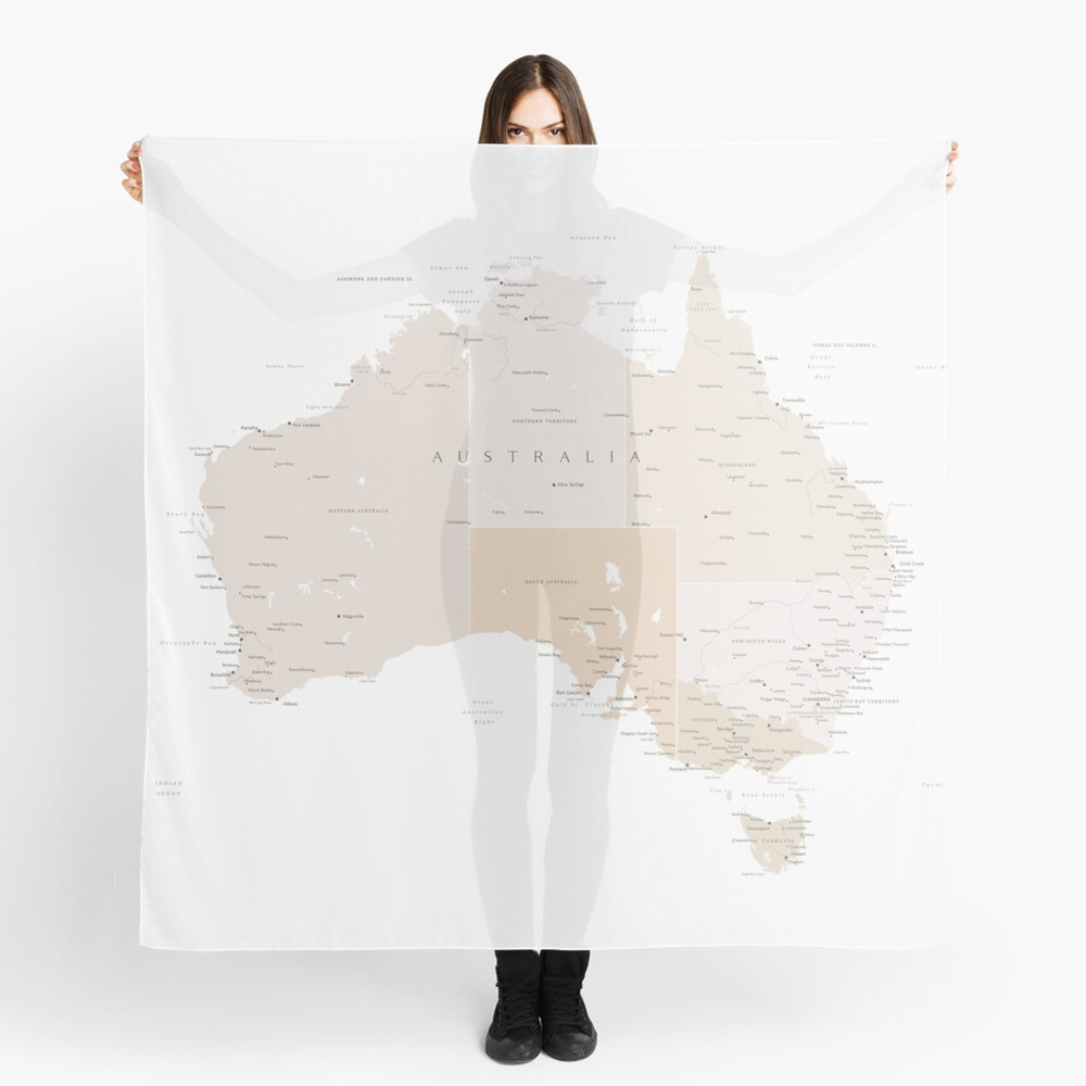 Map of Australia with cities in beige and light brown Scarf