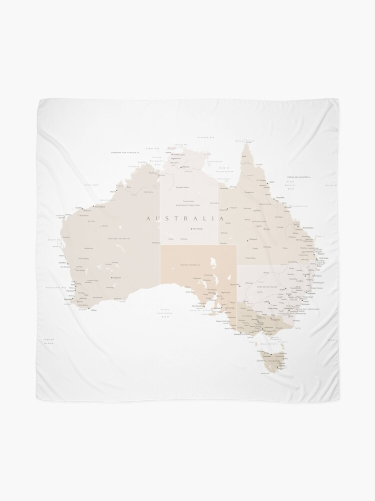Alternate view of Map of Australia with cities in beige and light brown Scarf