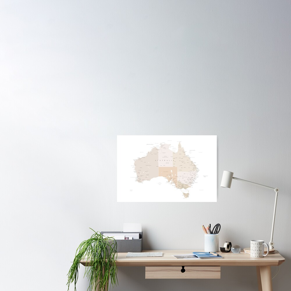 Map of Australia with cities in beige and light brown Poster