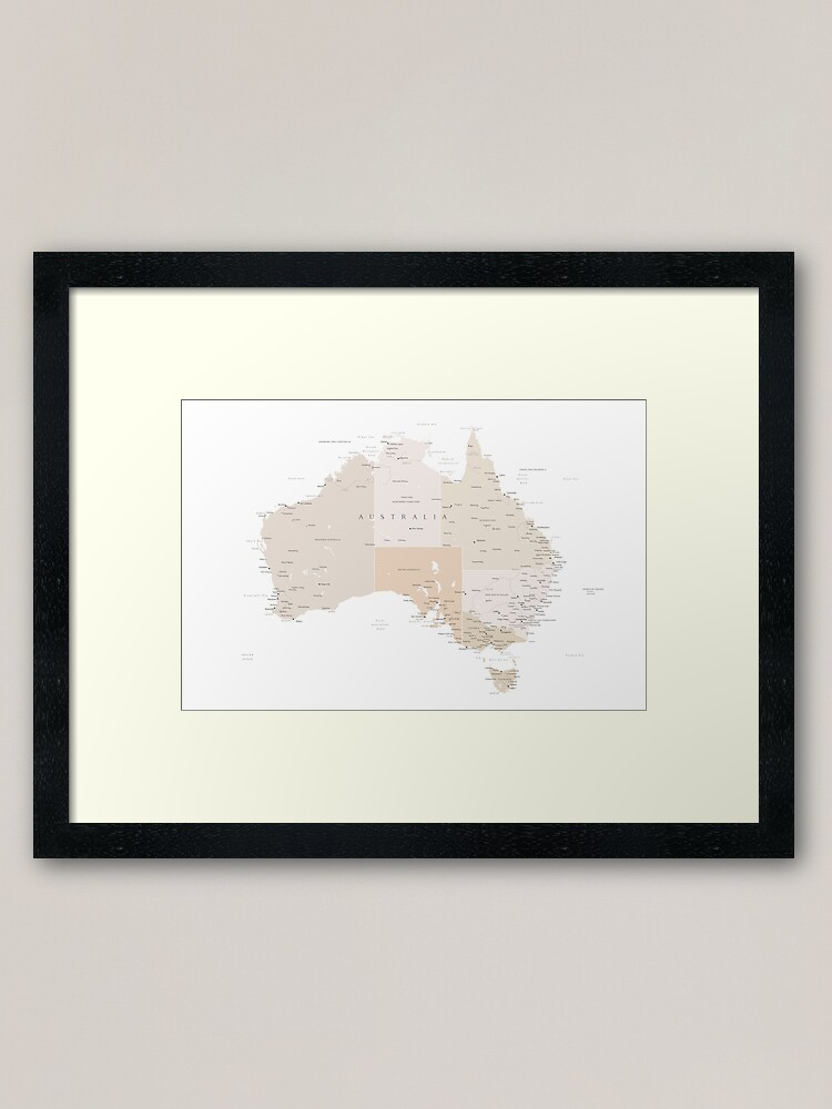 Alternate view of Map of Australia with cities in beige and light brown Framed Art Print