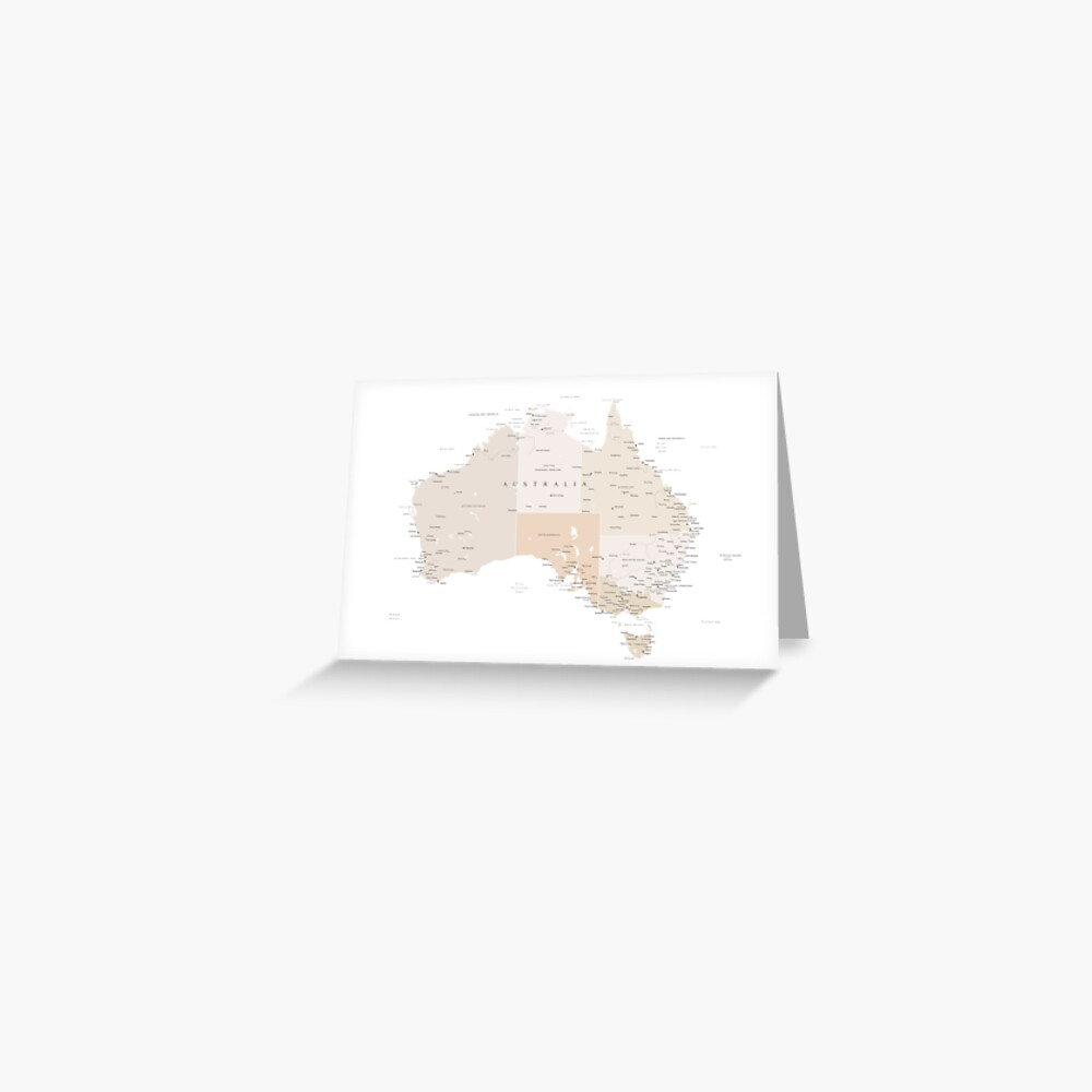 Map of Australia with cities in beige and light brown Greeting Card