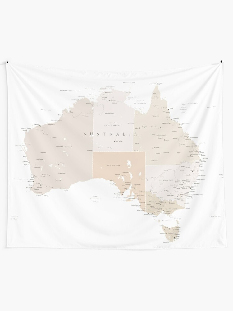 Alternate view of Map of Australia with cities in beige and light brown Tapestry
