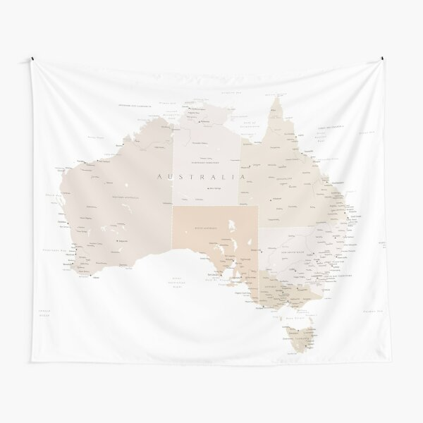 Map of Australia with cities in beige and light brown Tapestry