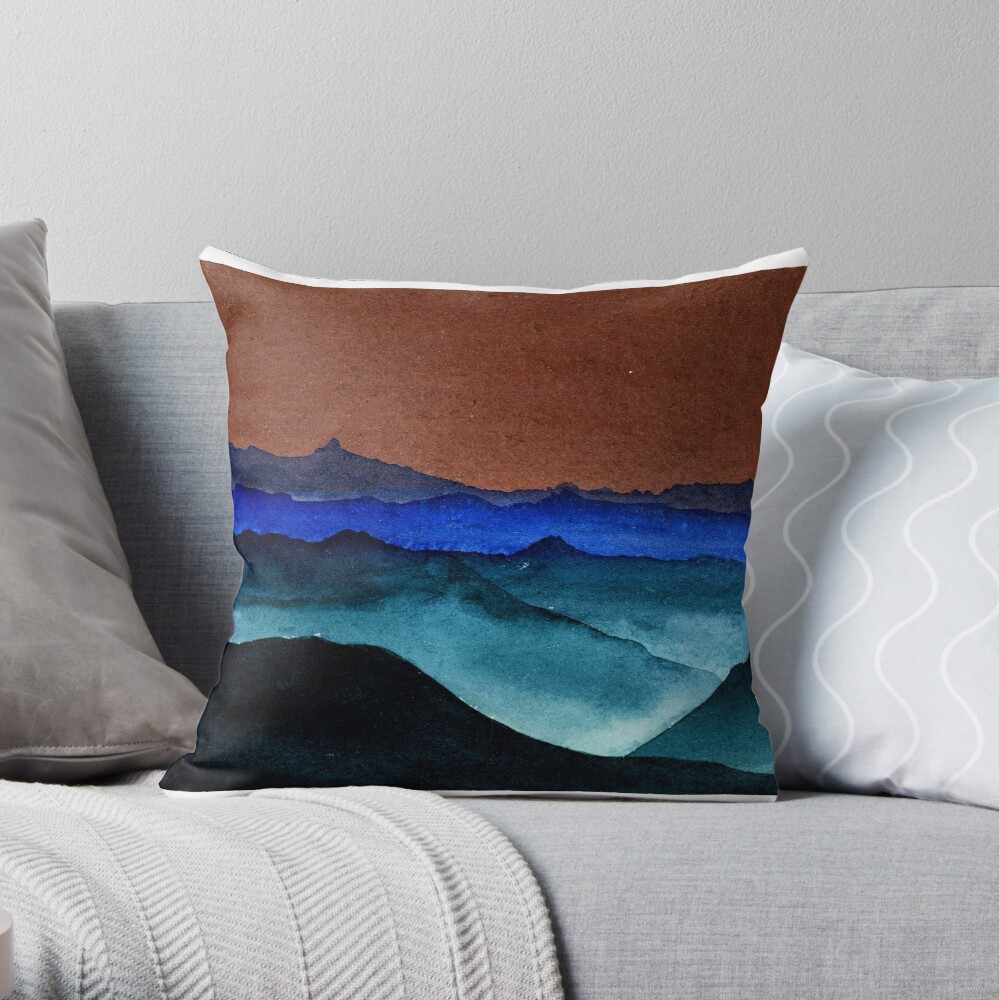 Shades of Mountains Throw Pillow