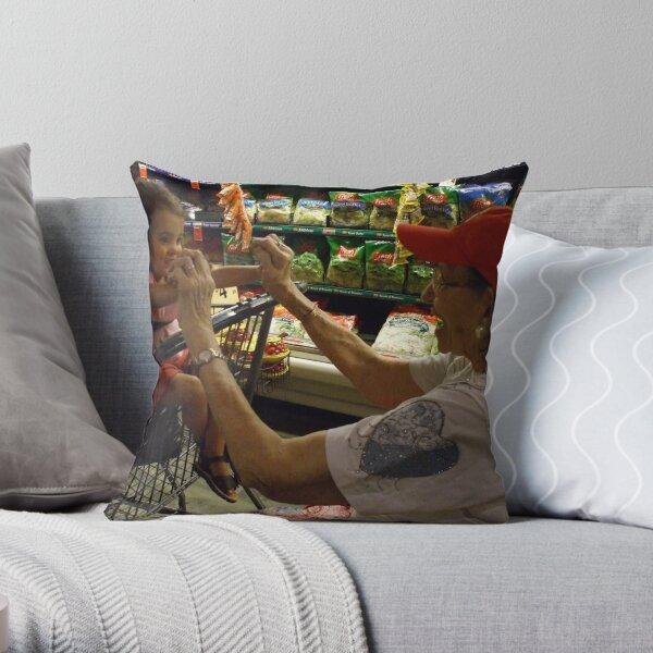 great grandma & selah shopping Throw Pillow