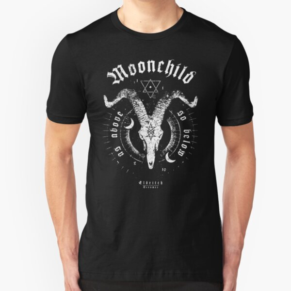 Moonchild - as above so below - Goat - Eldritch Dreamer - Lovecraftian Cthulhu mythos wear Slim Fit T-Shirt
