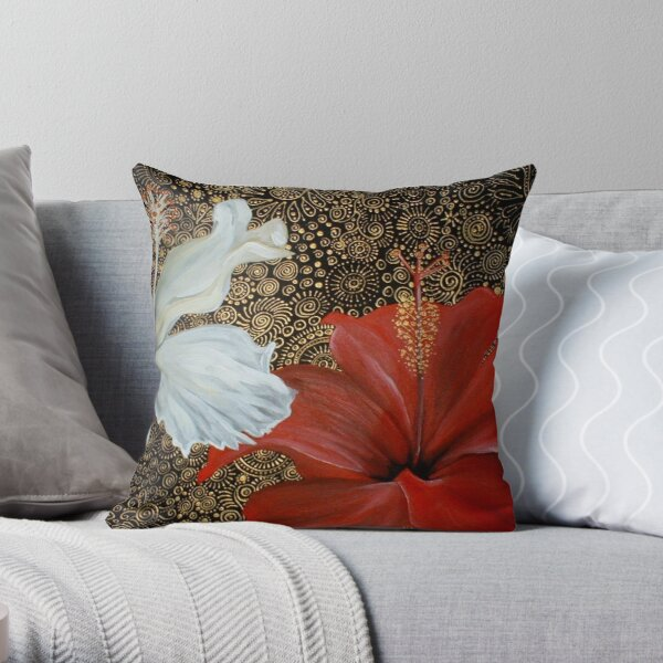 Red and White Hibiscus Throw Pillow