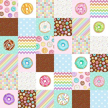 Rainbow Donuts Patchwork Quilt pattern by HazelFisher