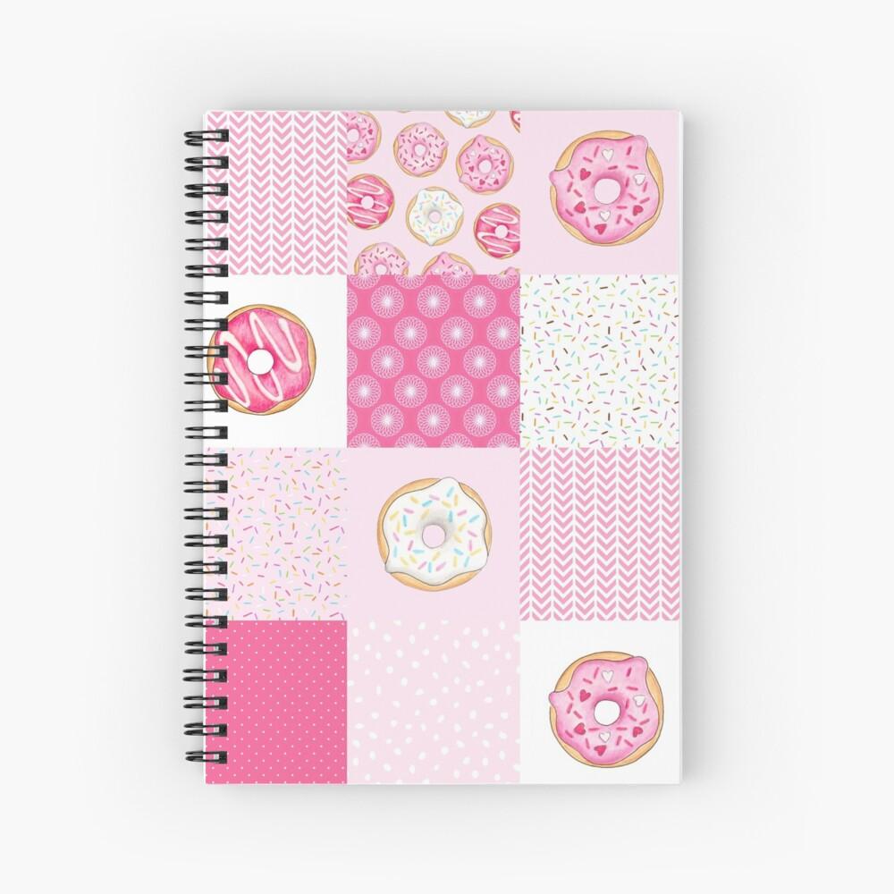 Pink Donuts Patchwork Quilt pattern Spiral Notebook
