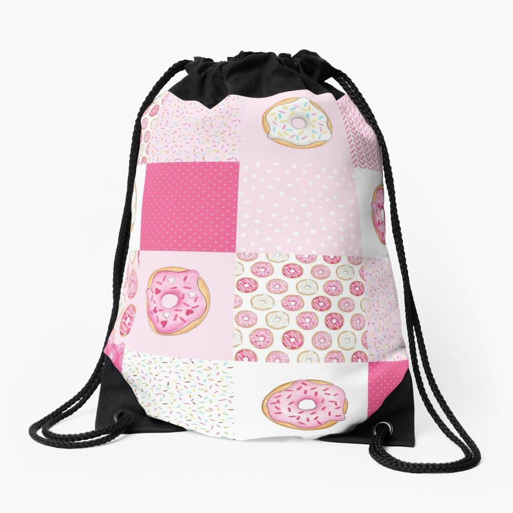 Pink Donuts Patchwork Quilt pattern Drawstring Bag