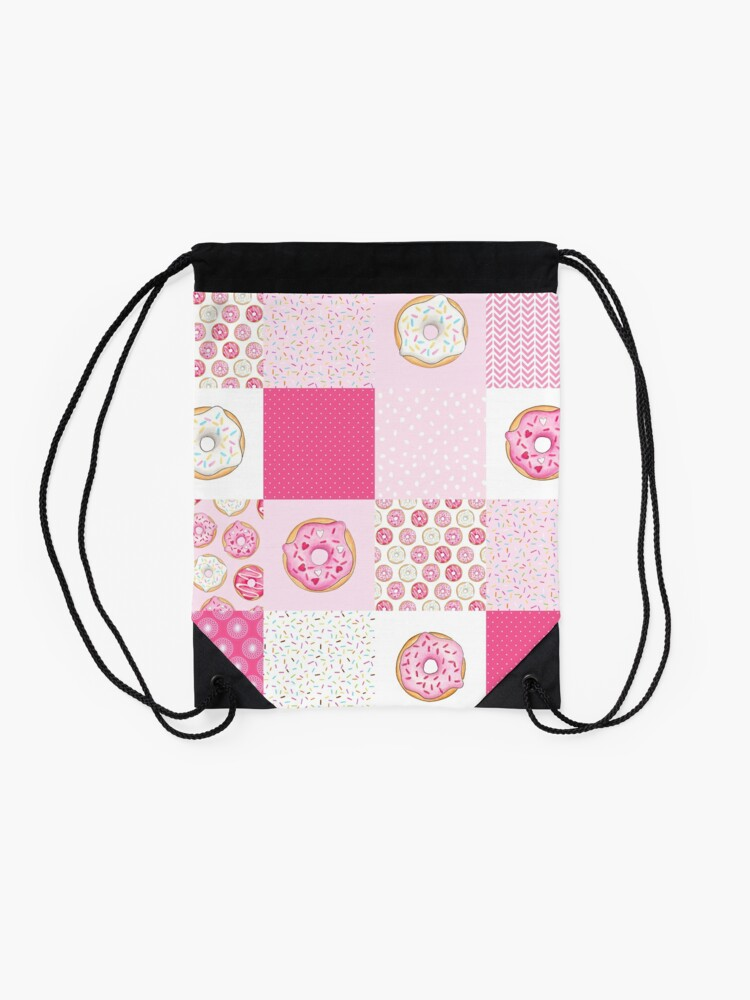 Alternate view of Pink Donuts Patchwork Quilt pattern Drawstring Bag