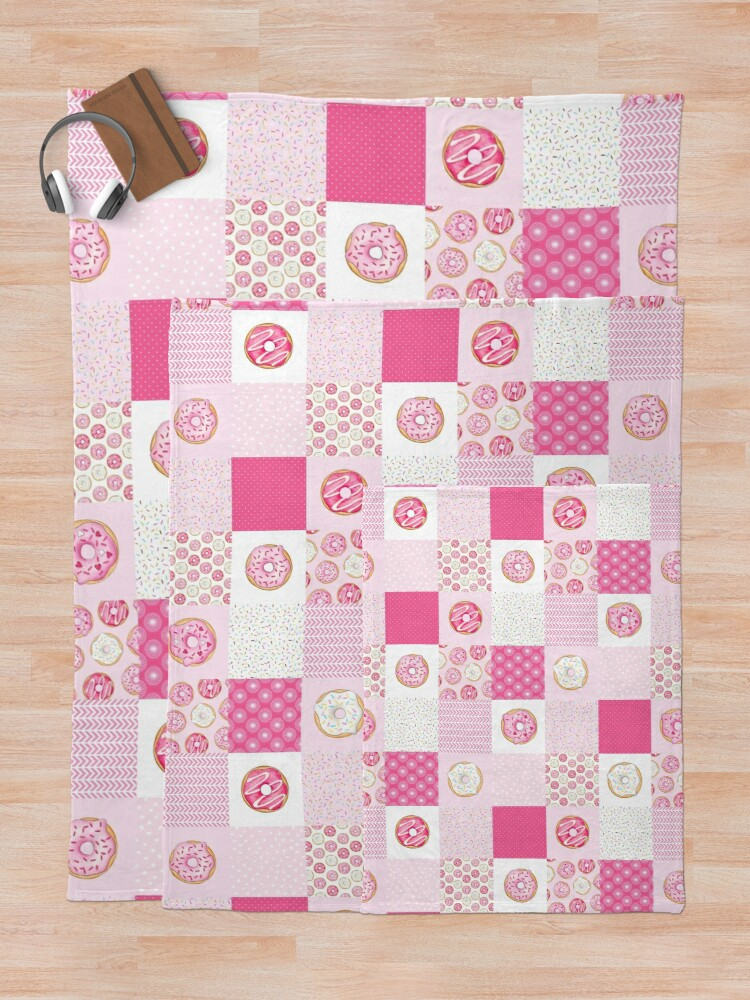 Alternate view of Pink Donuts Patchwork Quilt pattern Throw Blanket