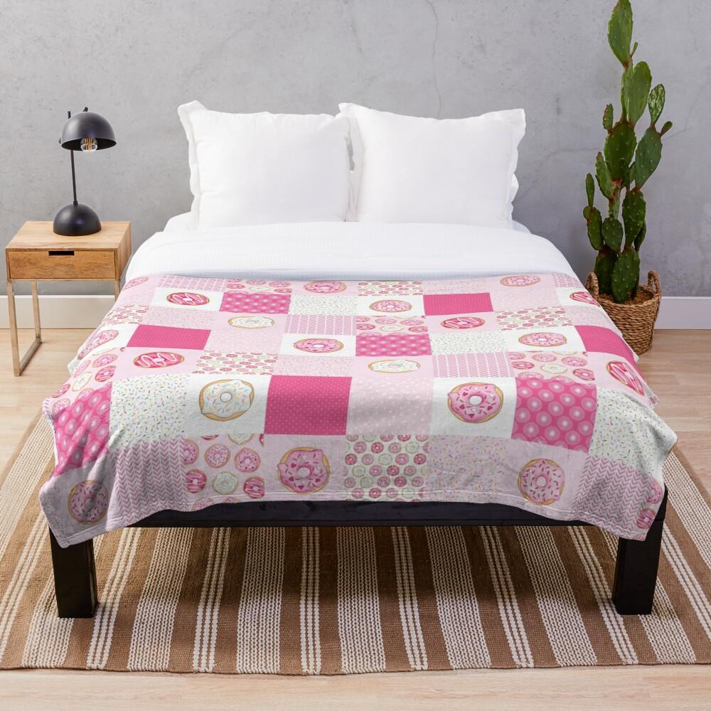 Pink Donuts Patchwork Quilt pattern Throw Blanket