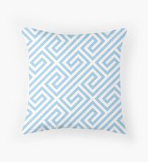 LightBlue Greek Keys Geometric Pattern Throw Pillow
