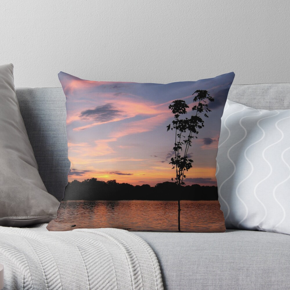 Sunset over the Rock River Throw Pillow