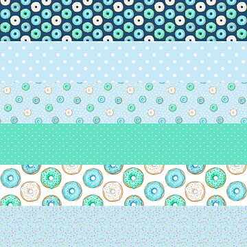 Blue Donuts Patchwork Quilt Stripes pattern by HazelFisher