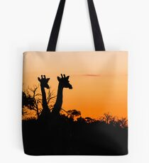 Giraffes in the African Sunset Tote Bag