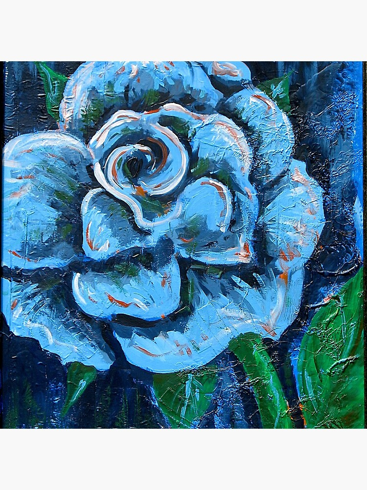 Blue Rose Original Signed Acrylic Painting On Canvas Tote Bag