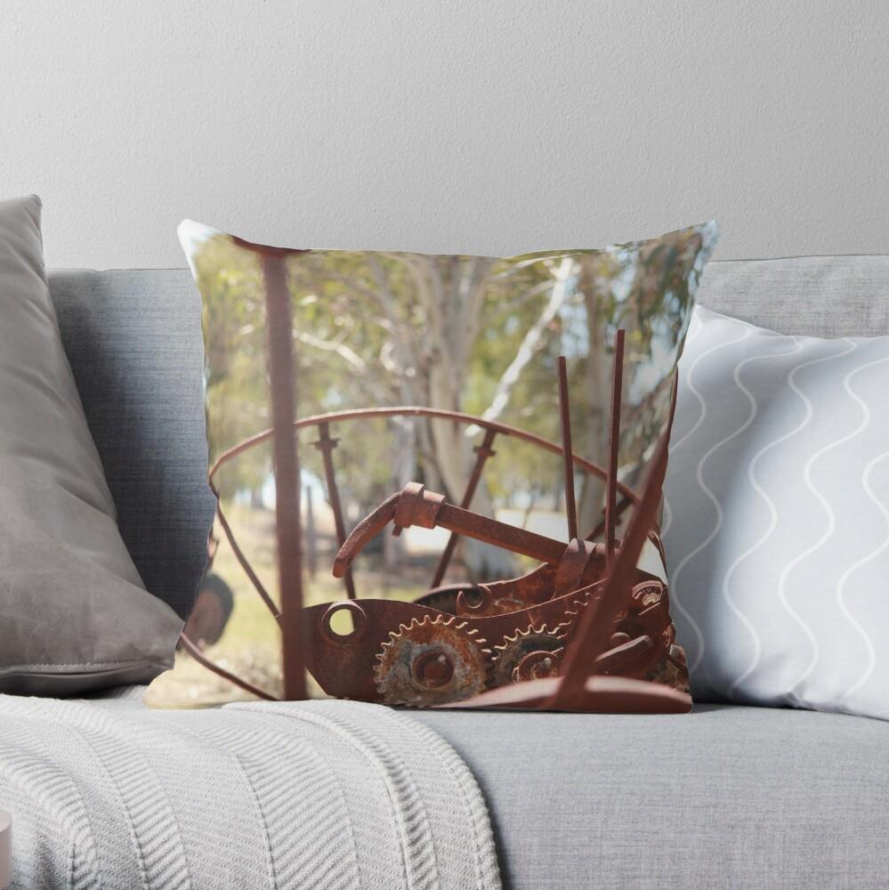 Rusting farm equipment Throw Pillow
