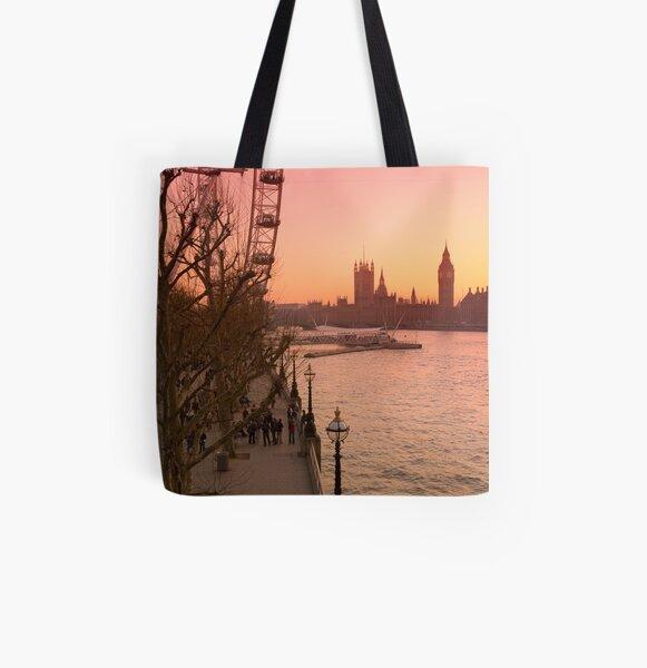 UK, England, London, Big Ben and London Eye (Alan Copson ©) All Over Print Tote Bag