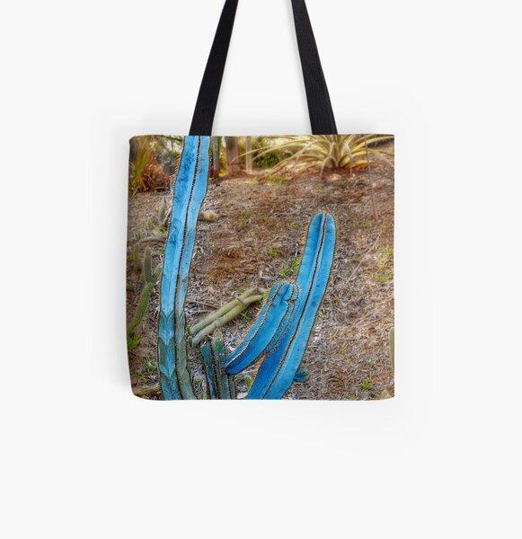 Blue Columnar Cactus All Over Print Tote Bag