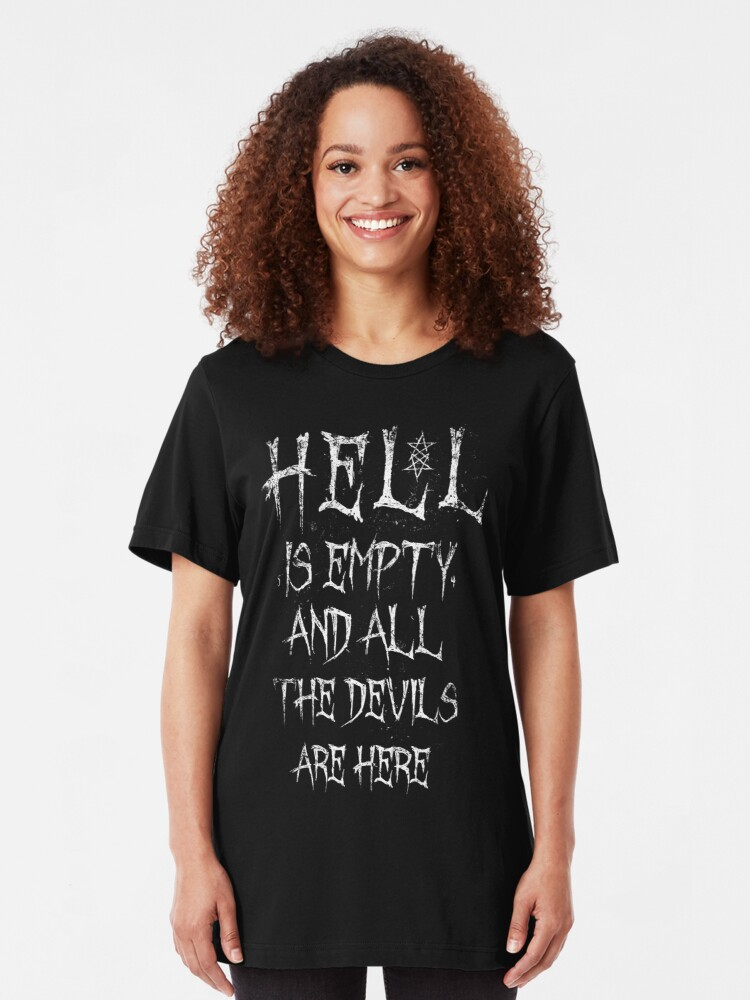 Alternate view of Hell is empty and all the devils are here - Eldritch Dreamer - Lovecraftian Cthulhu mythos wear Slim Fit T-Shirt